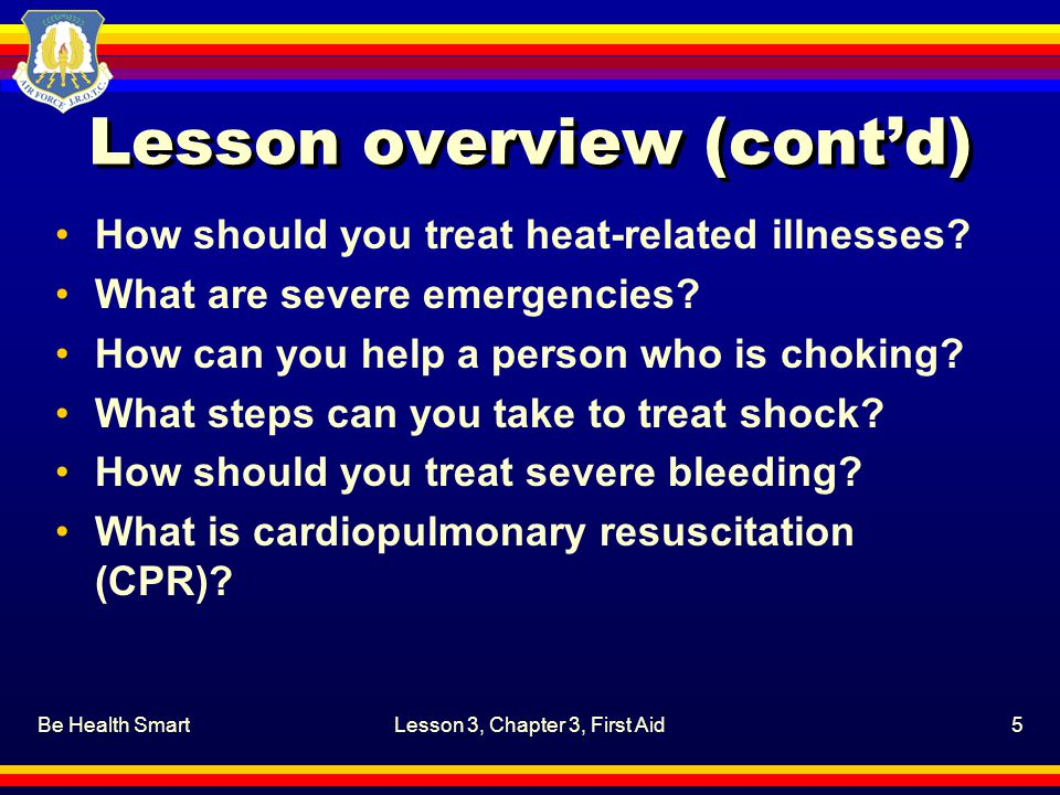 Be Health SmartLesson 3, Chapter 3, First Aid36 How can you help a person who is choking.