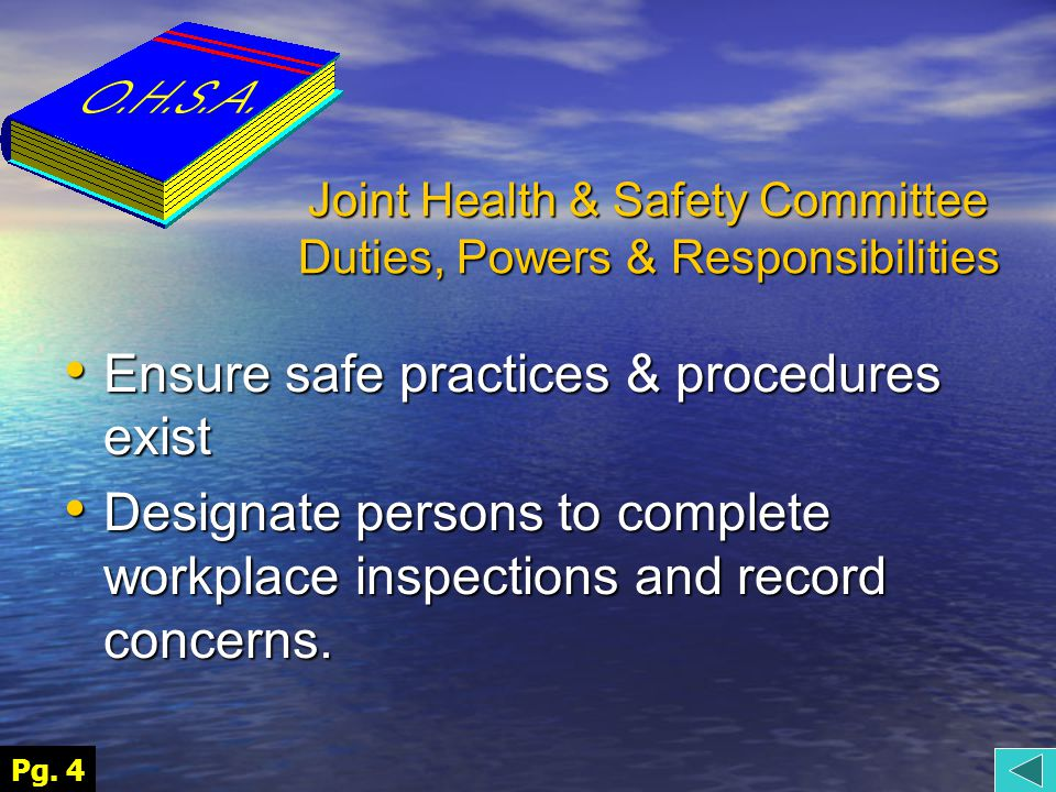 Joint Health & Safety Committee Duties, Powers & Responsibilities Ensure safe practices & procedures exist Ensure safe practices & procedures exist Designate persons to complete workplace inspections and record concerns.