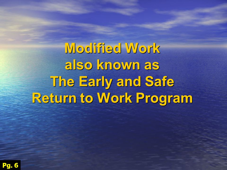 Modified Work also known as The Early and Safe Return to Work Program Pg. 6
