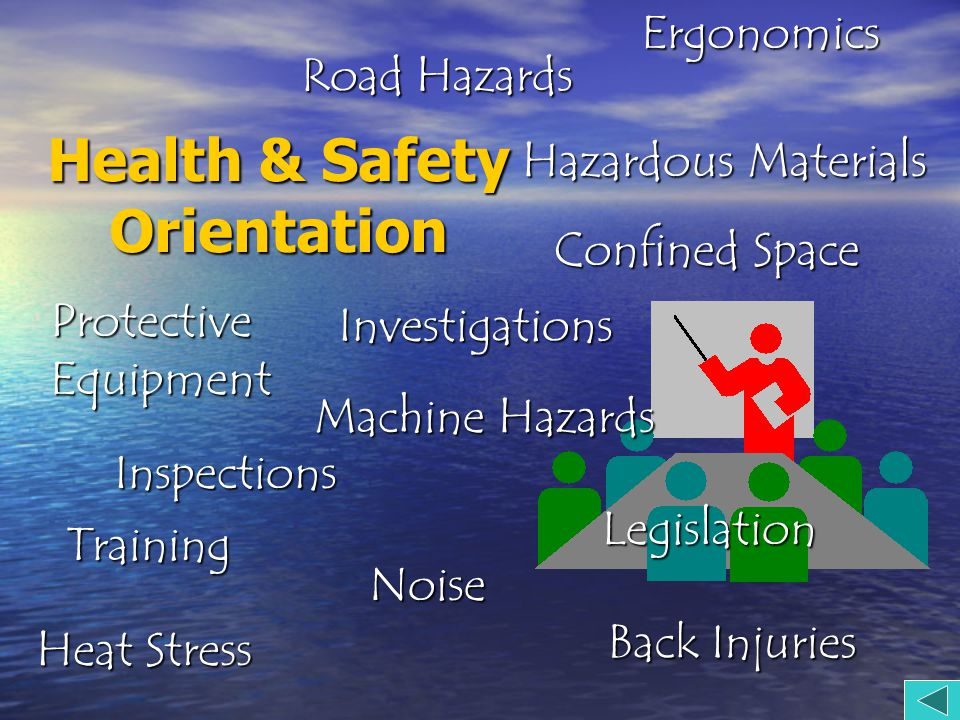 Health & Safety Orientation Training Heat Stress Noise Legislation Protective Equipment Confined Space Ergonomics Back Injuries Inspections Investigations Machine Hazards Hazardous Materials Road Hazards