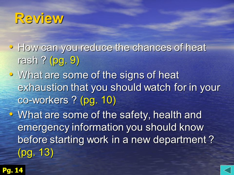 Review How can you reduce the chances of heat rash .