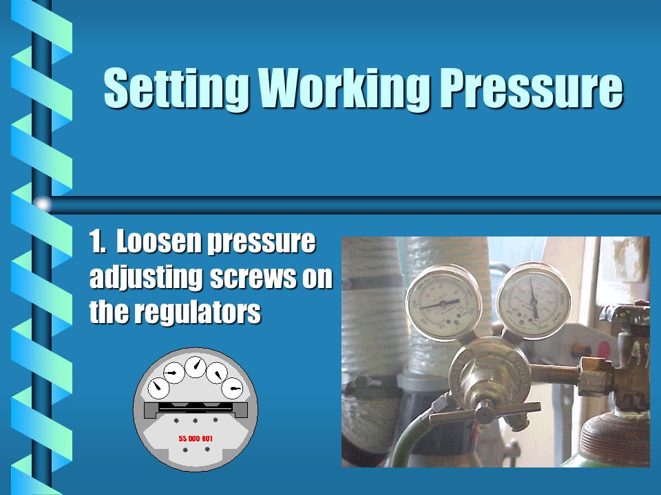 Setting Working Pressure 1. Loosen pressure adjusting screws on the regulators