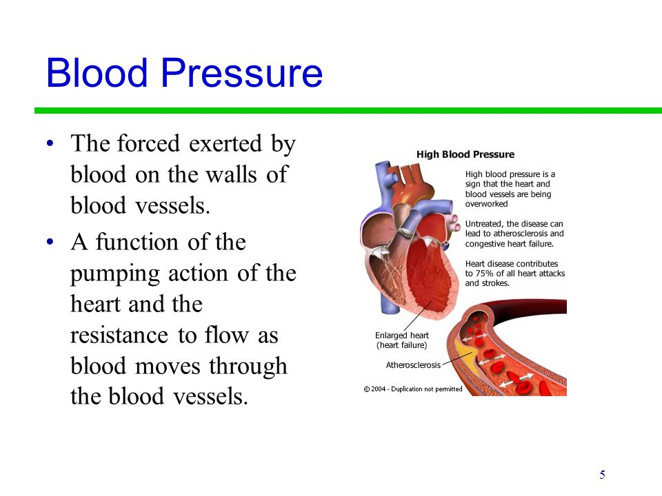 Blood Pressure The forced exerted by blood on the walls of blood vessels. A function of the pumping action of the heart and the resistance to flow as