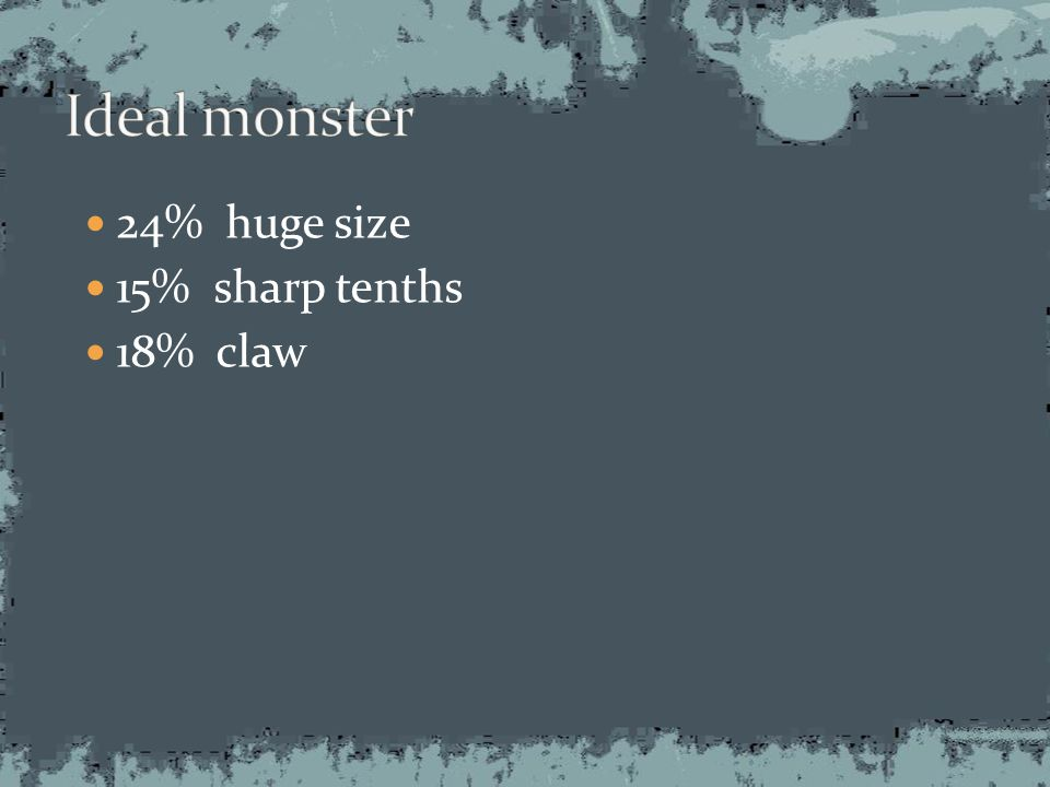 24% huge size 15% sharp tenths 18% claw