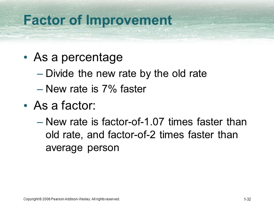 Copyright © 2006 Pearson Addison-Wesley. All rights reserved. 1-32 Factor of Improvement As a percentage –Divide the new rate by the old rate –New rat