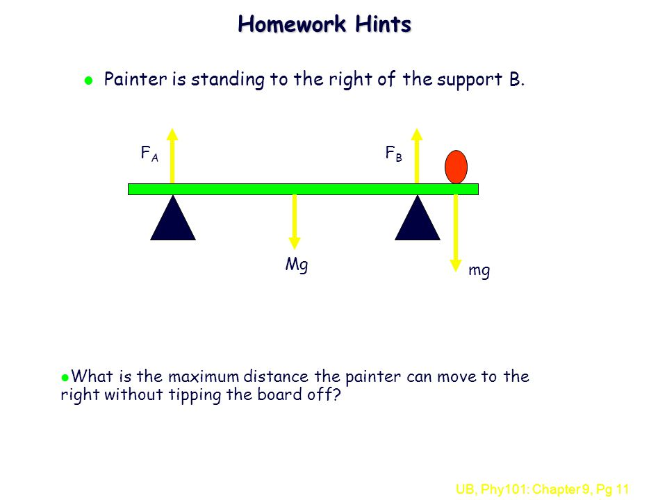 UB, Phy101: Chapter 9, Pg 11 Homework Hints l Painter is standing to the right of the support B. FAFA FBFB Mg mg l What is the maximum distance the pa
