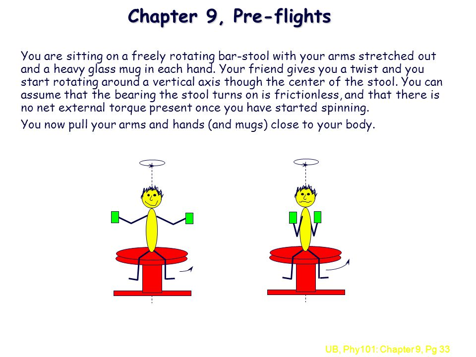 UB, Phy101: Chapter 9, Pg 33 Chapter 9, Pre-flights You are sitting on a freely rotating bar-stool with your arms stretched out and a heavy glass mug
