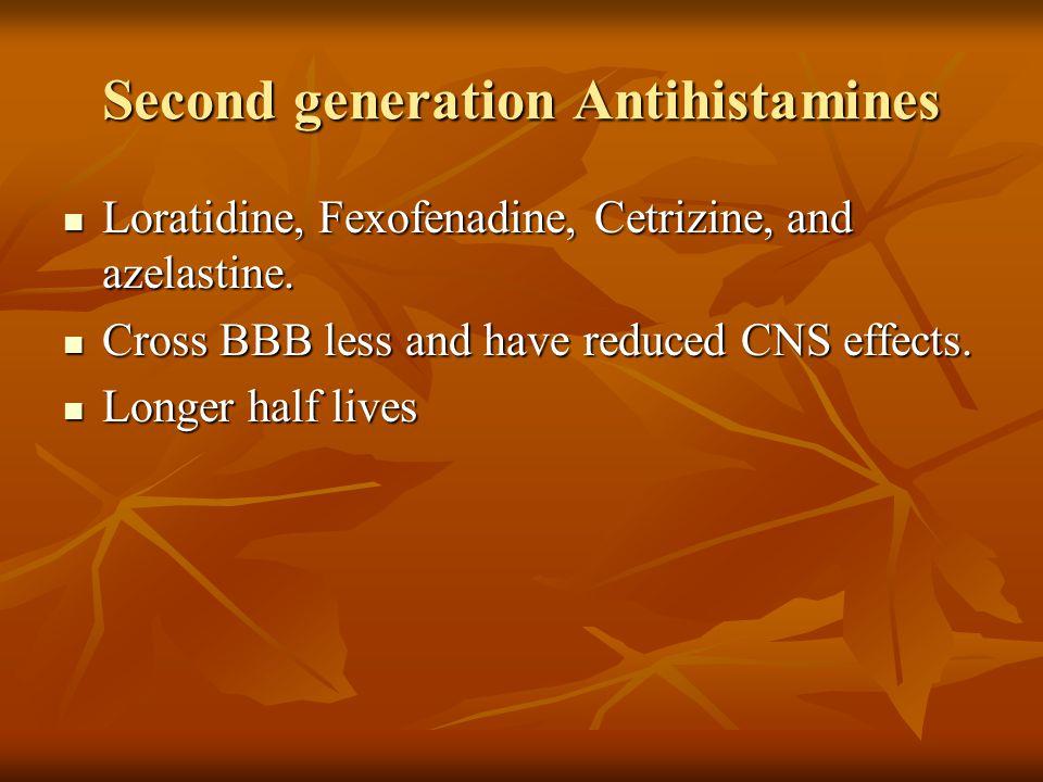 Second generation Antihistamines Loratidine, Fexofenadine, Cetrizine, and azelastine.