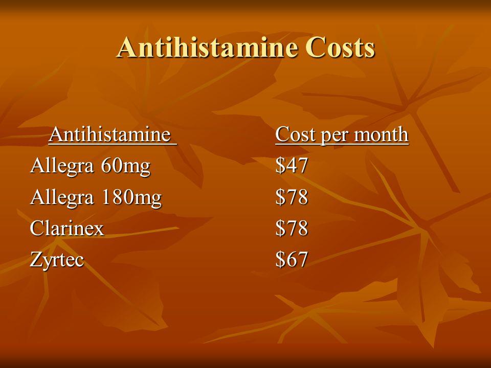 Antihistamine Costs AntihistamineCost per month Allegra 60mg$47 Allegra 180mg$78 Clarinex$78 Zyrtec$67