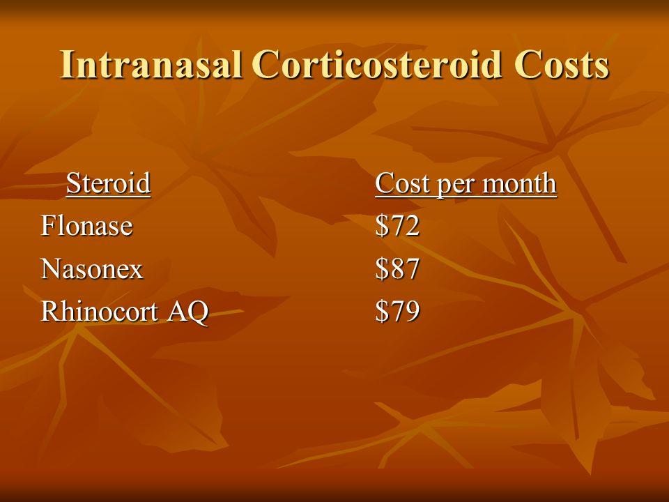 Intranasal Corticosteroid Costs SteroidCost per month Flonase$72 Nasonex$87 Rhinocort AQ$79