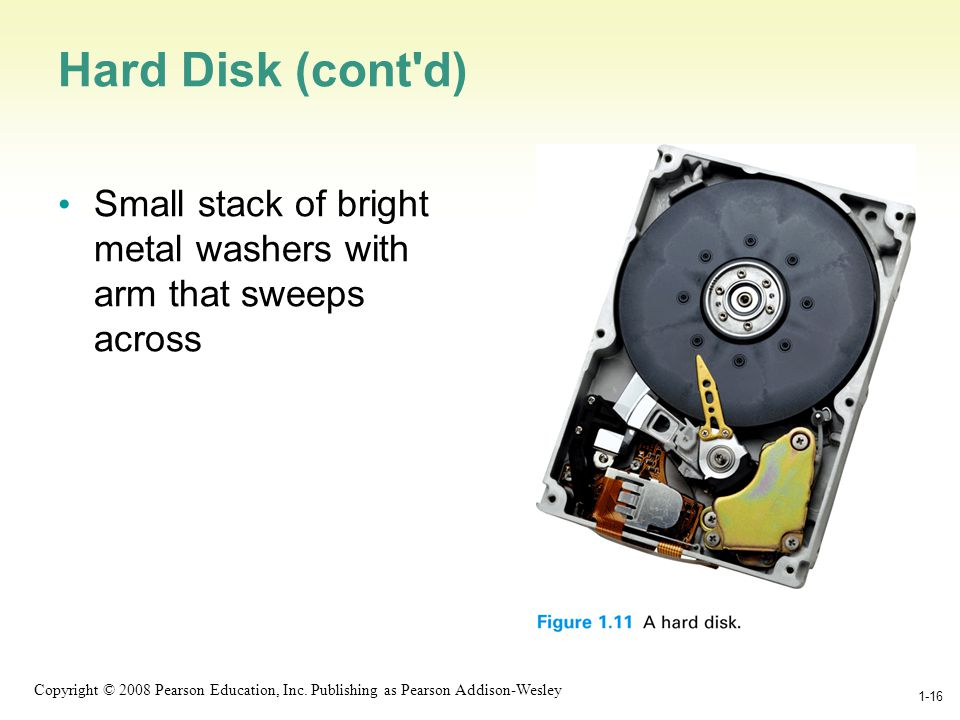 1-16 Copyright © 2008 Pearson Education, Inc. Publishing as Pearson Addison-Wesley 1-16 Hard Disk (cont'd) Small stack of bright metal washers with ar
