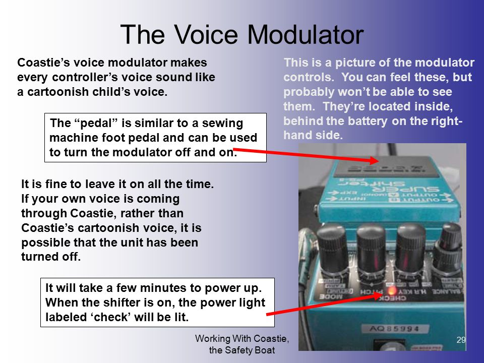Working With Coastie, the Safety Boat 29 The Voice Modulator Coastie's voice modulator makes every controller's voice sound like a cartoonish child's