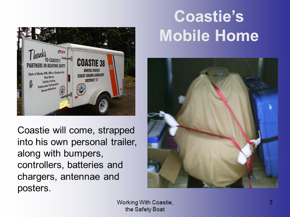 Working With Coastie, the Safety Boat 3 Coastie's Mobile Home Coastie will come, strapped into his own personal trailer, along with bumpers, controlle