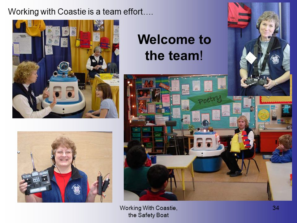 Working With Coastie, the Safety Boat 34 Working with Coastie is a team effort…. Welcome to the team!