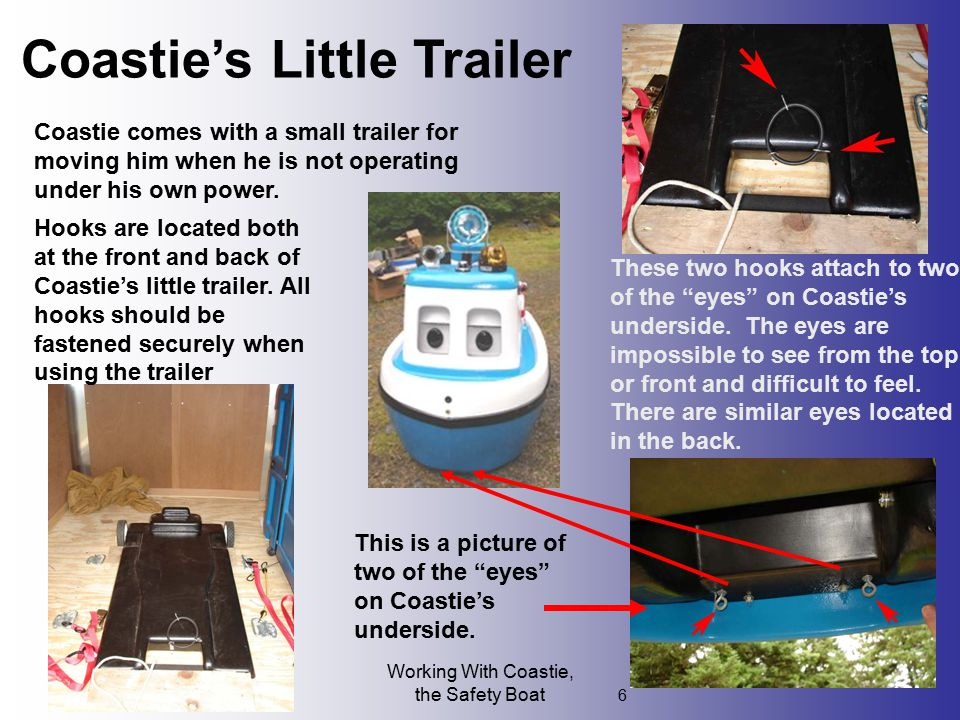 Working With Coastie, the Safety Boat 6 Coastie's Little Trailer Coastie comes with a small trailer for moving him when he is not operating under his