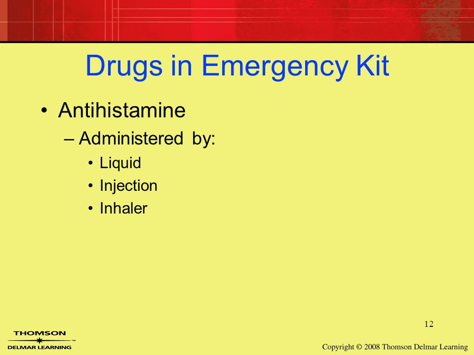 12 Drugs in Emergency Kit Antihistamine –Administered by: Liquid Injection Inhaler