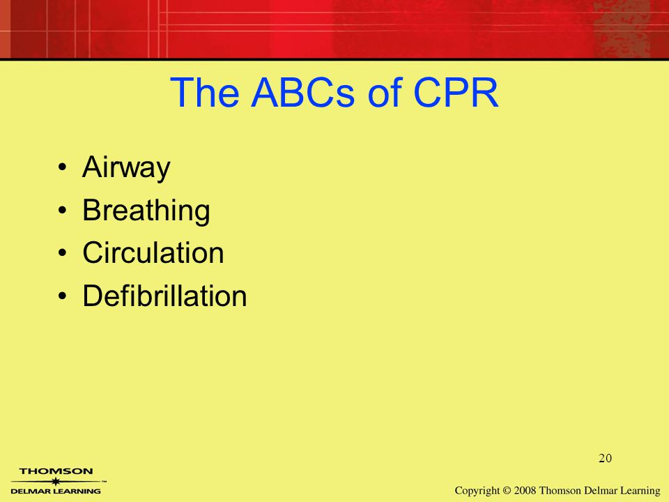 20 The ABCs of CPR Airway Breathing Circulation Defibrillation