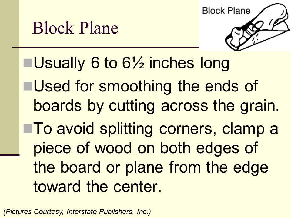 Block Plane Usually 6 to 6½ inches long Used for smoothing the ends of boards by cutting across the grain. To avoid splitting corners, clamp a piece o