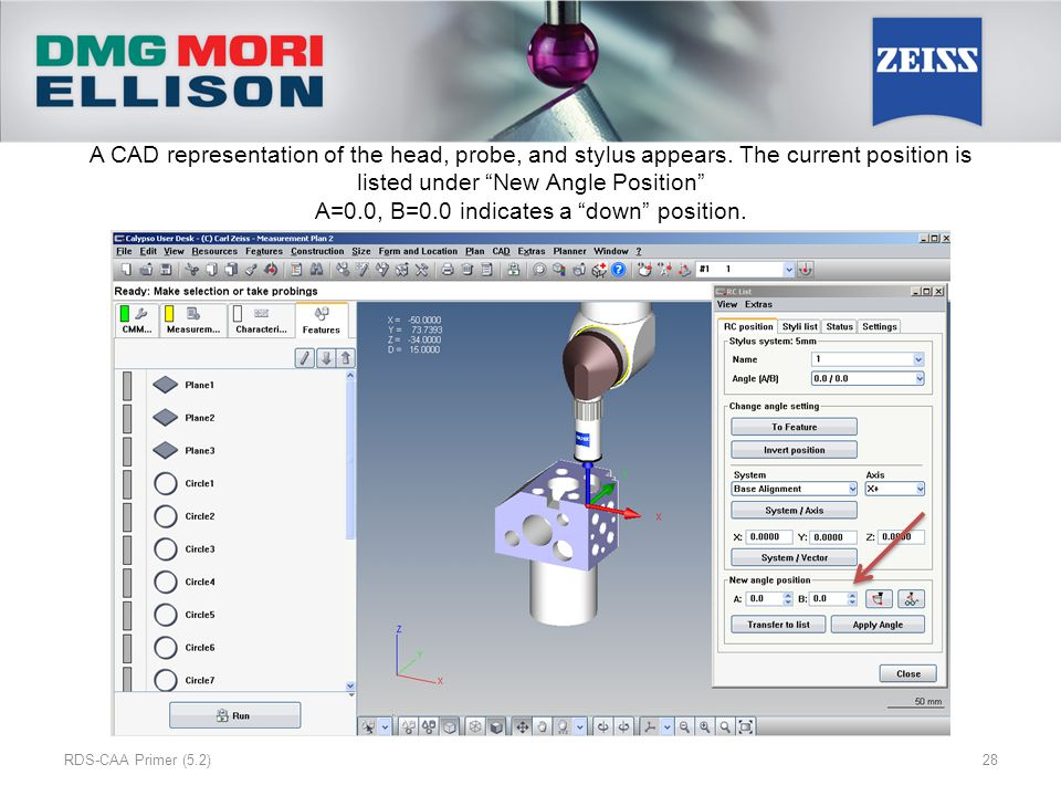 A CAD representation of the head, probe, and stylus appears.