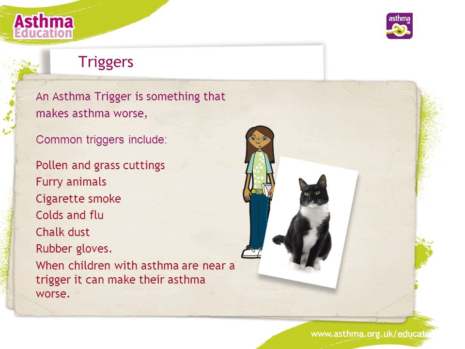 www.asthma.org.uk/educate Triggers An Asthma Trigger is something that makes asthma worse, Common triggers include: Pollen and grass cuttings Furry an