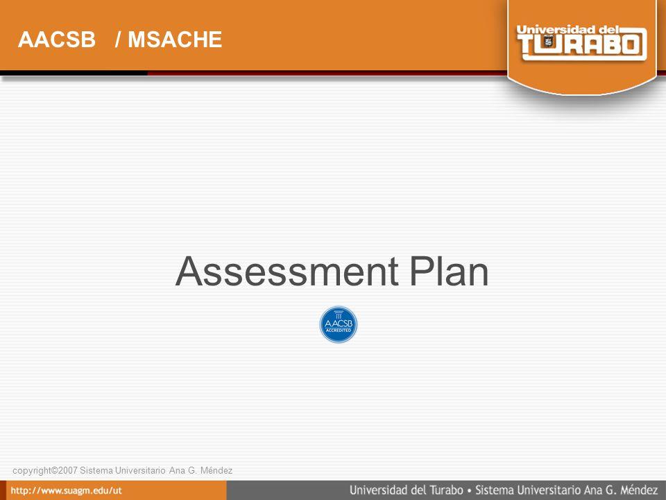 copyright©2007 Sistema Universitario Ana G. Méndez AACSB / MSACHE Assessment Plan