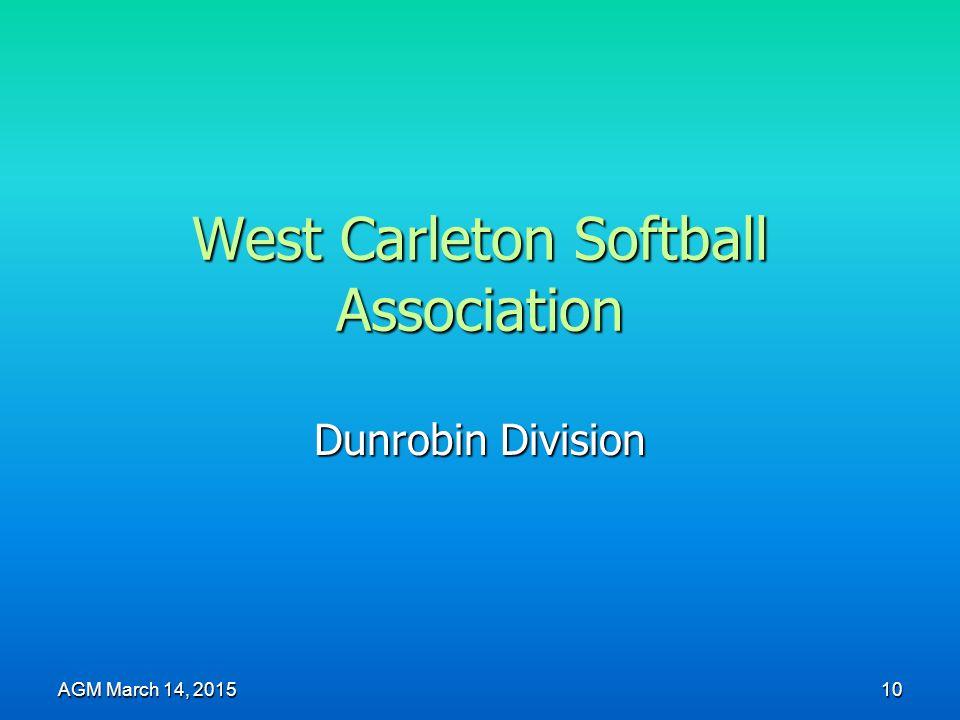 West Carleton Softball Association Dunrobin Division AGM March 14, 2015 10