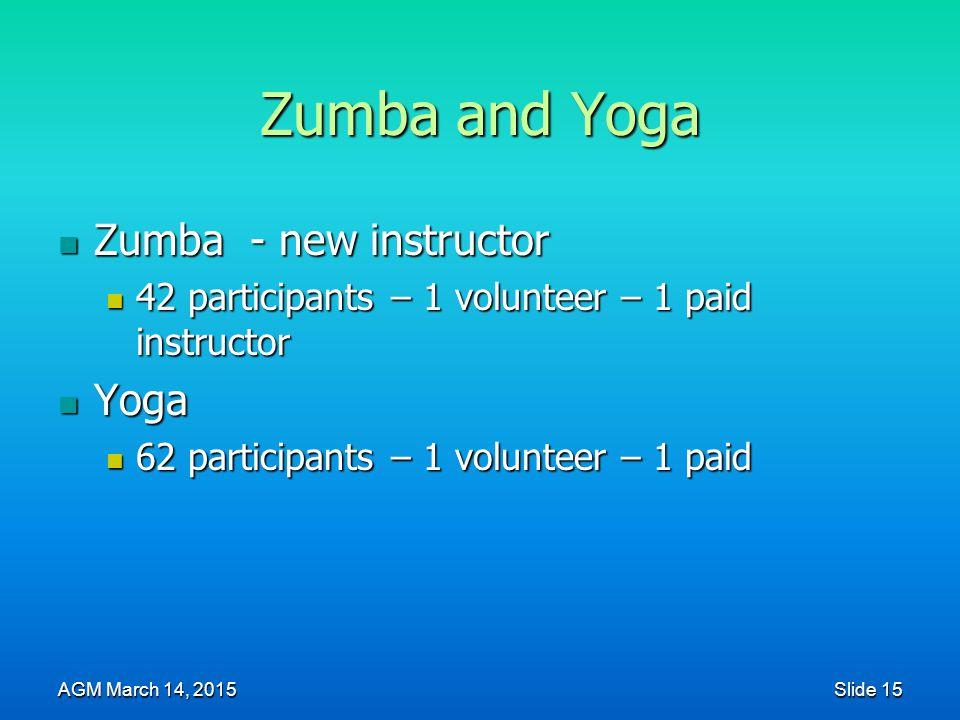 Zumba and Yoga Zumba - new instructor Zumba - new instructor 42 participants – 1 volunteer – 1 paid instructor 42 participants – 1 volunteer – 1 paid