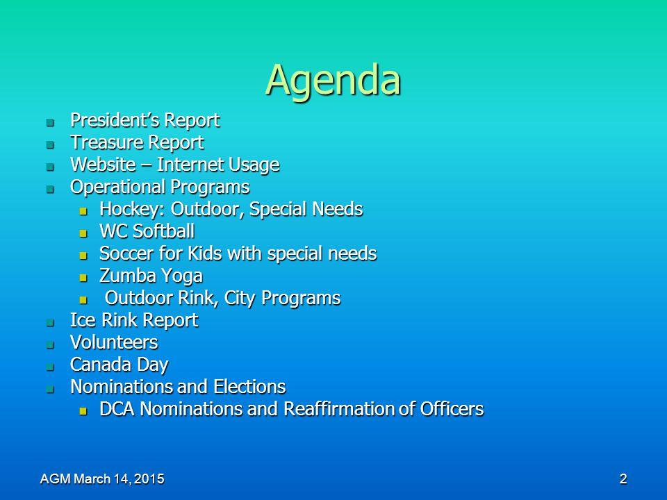 Agenda President's Report President's Report Treasure Report Treasure Report Website – Internet Usage Website – Internet Usage Operational Programs Op