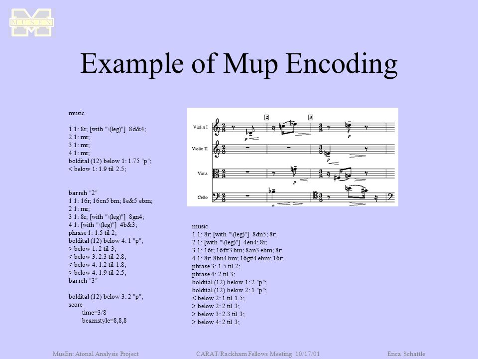 MusEn: Atonal Analysis ProjectCARAT/Rackham Fellows Meeting 10/17/01Erica Schattle Example of Mup Encoding music 1 1: 8r; [with