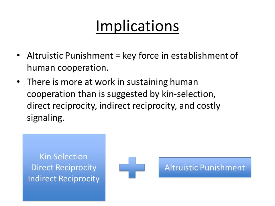 Implications Altruistic Punishment = key force in establishment of human cooperation. There is more at work in sustaining human cooperation than is su