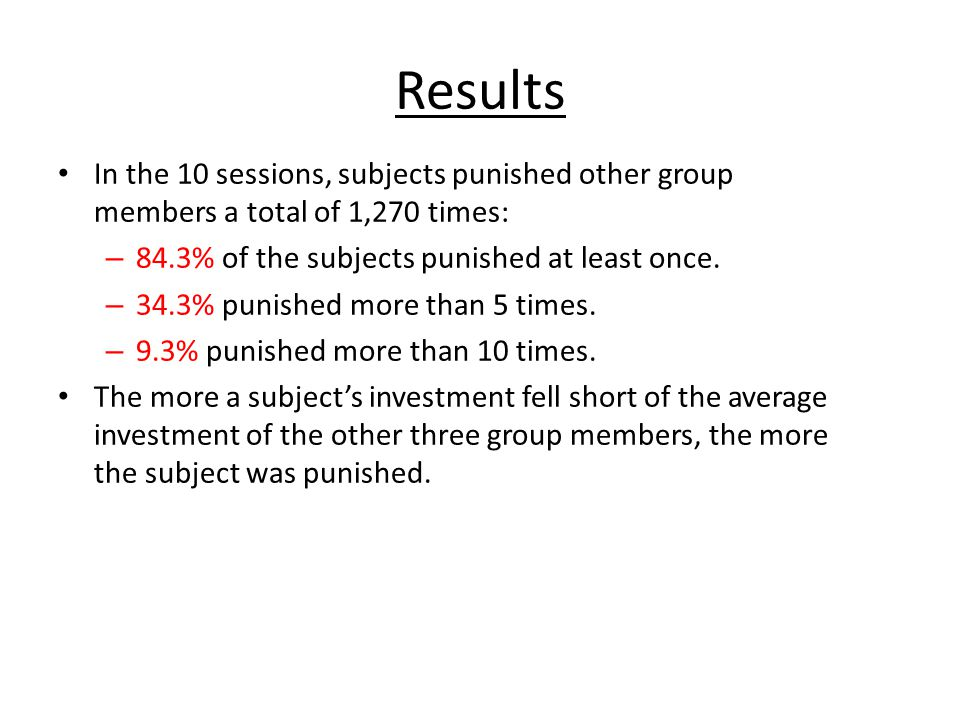 Results In the 10 sessions, subjects punished other group members a total of 1,270 times: – 84.3% of the subjects punished at least once. – 34.3% puni