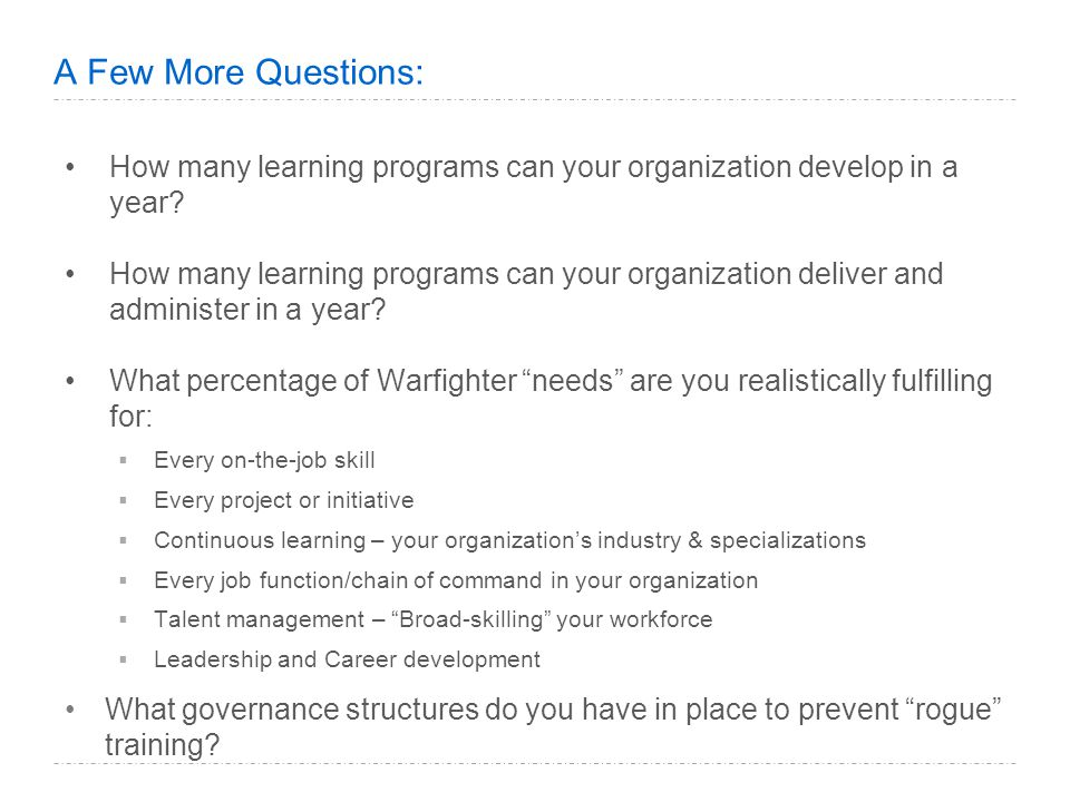 A Few More Questions: How many learning programs can your organization develop in a year.
