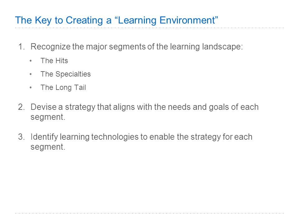 The Key to Creating a Learning Environment 1.Recognize the major segments of the learning landscape: The Hits The Specialties The Long Tail 2.Devise a strategy that aligns with the needs and goals of each segment.