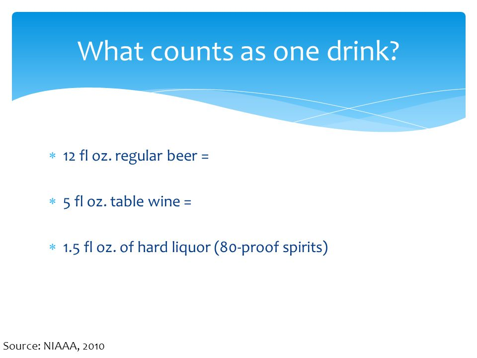 What counts as one drink. Source: NIAAA, 2010  12 fl oz.