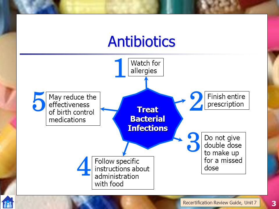 3 Antibiotics May reduce the effectiveness of birth control medications 5 Follow specific instructions about administration with food 4 Do not give double dose to make up for a missed dose 3 Watch for allergies 1 Finish entire prescription 2TreatBacterialInfections Recertification Review Guide, Unit 7