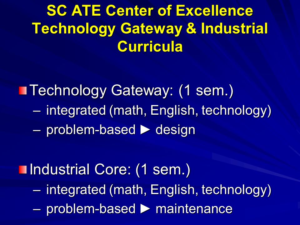 SC ATE Center of Excellence Technology Gateway & Industrial Curricula Technology Gateway: (1 sem.) – integrated (math, English, technology) – problem-