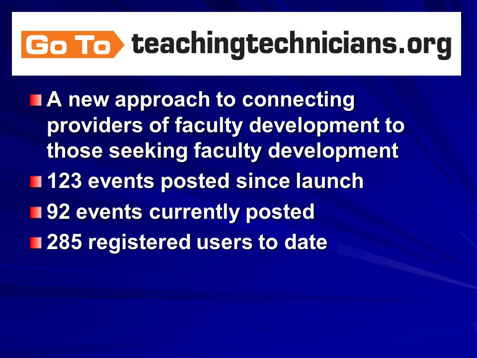 A new approach to connecting providers of faculty development to those seeking faculty development 123 events posted since launch 92 events currently