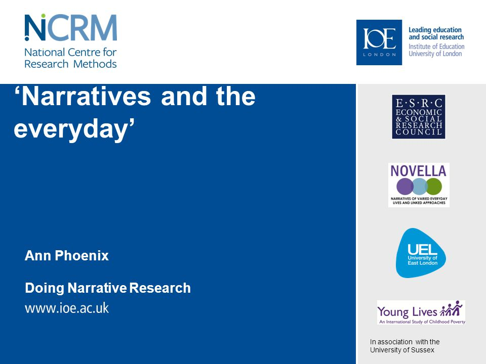 'Narratives and the everyday' Ann Phoenix Doing Narrative Research In association with the University of Sussex