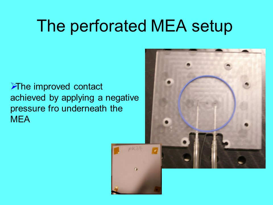 The perforated MEA setup  The improved contact achieved by applying a negative pressure fro underneath the MEA