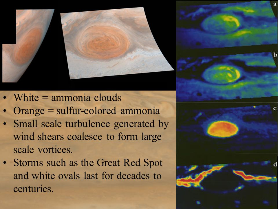 White = ammonia clouds Orange = sulfur-colored ammonia Small scale turbulence generated by wind shears coalesce to form large scale vortices.