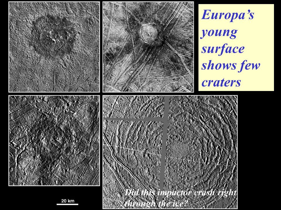 Europa's young surface shows few craters Did this impactor crash right through the ice