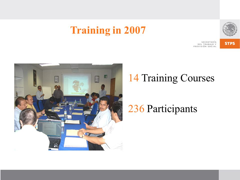 Training in 2007 14 Training Courses 236 Participants