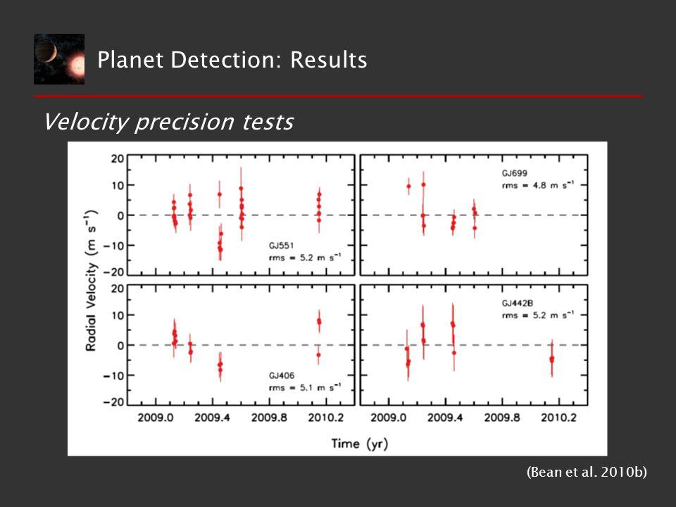 Velocity precision tests (Bean et al. 2010b) Planet Detection: Results