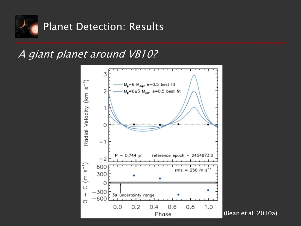 A giant planet around VB10 (Bean et al. 2010a) Planet Detection: Results