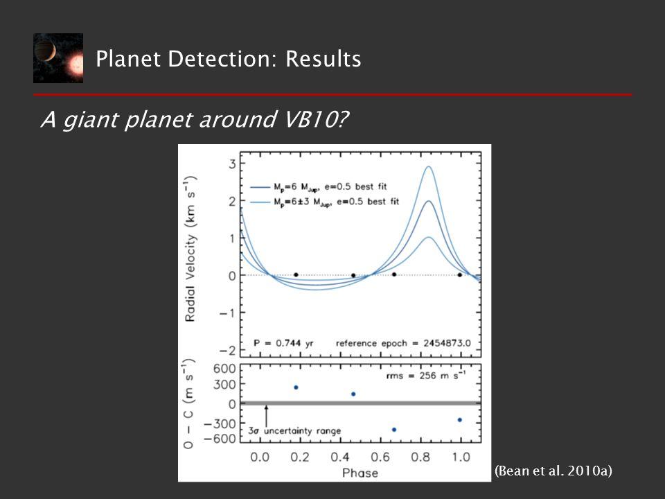 A giant planet around VB10? (Bean et al. 2010a) Planet Detection: Results