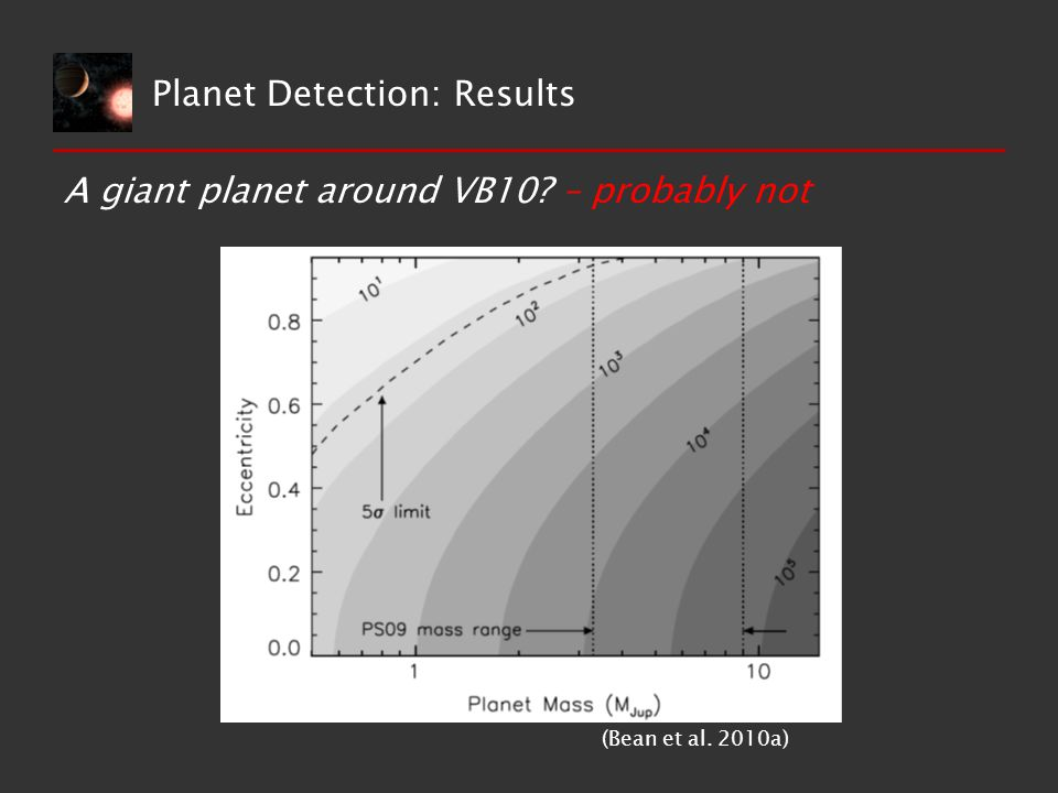 A giant planet around VB10? – probably not (Bean et al. 2010a) Planet Detection: Results