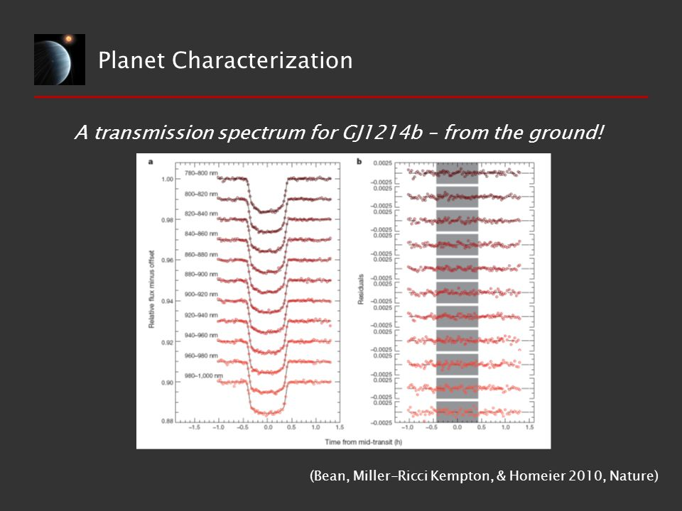 Planet Characterization A transmission spectrum for GJ1214b – from the ground.