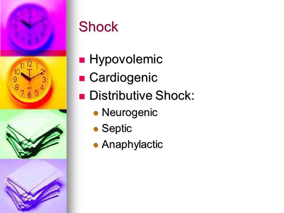Shock Hypovolemic Hypovolemic Cardiogenic Cardiogenic Distributive Shock: Distributive Shock: Neurogenic Neurogenic Septic Septic Anaphylactic Anaphylactic