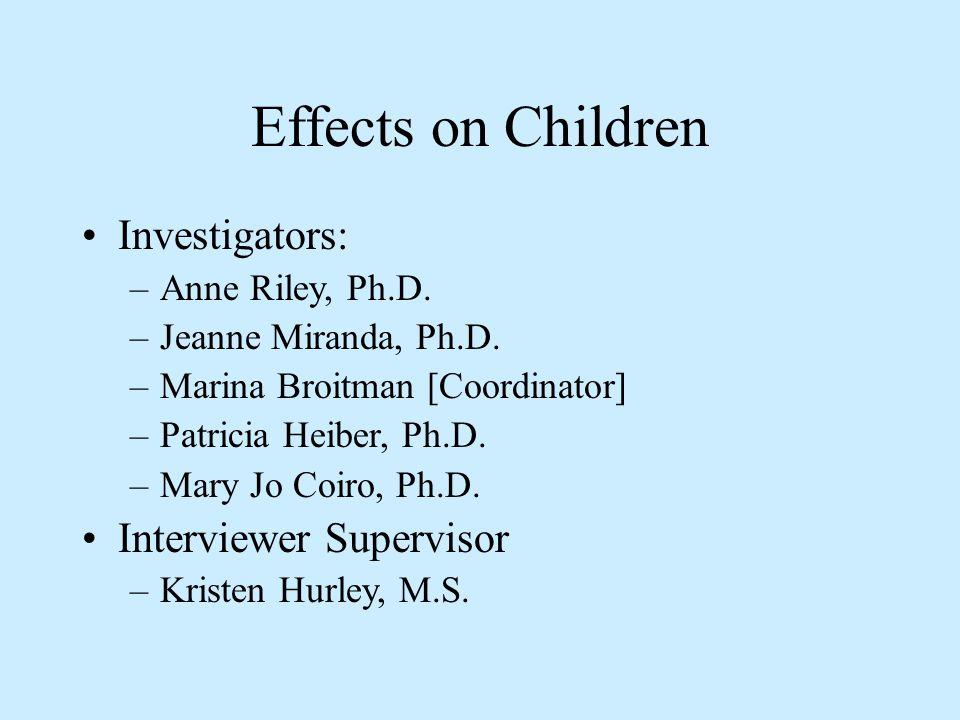 Effects on Children Investigators: –Anne Riley, Ph.D.
