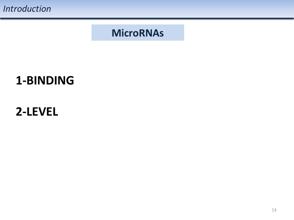 MicroRNAs Introduction 1-BINDING 2-LEVEL 14